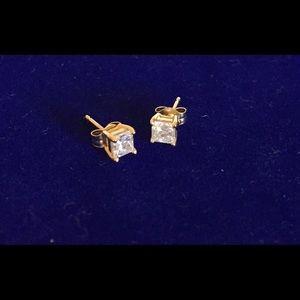 Accessories - 3/4 ct princess cut diamond stud earrings